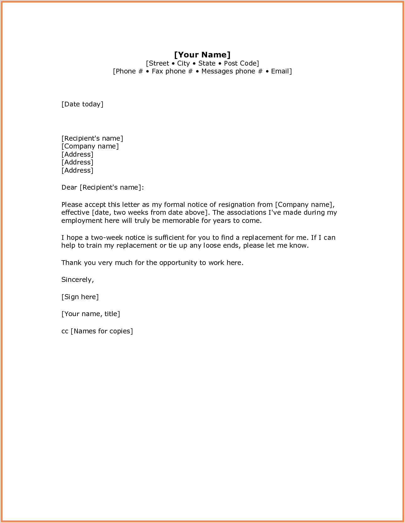 5 simple resignation letter sample 1 week notice