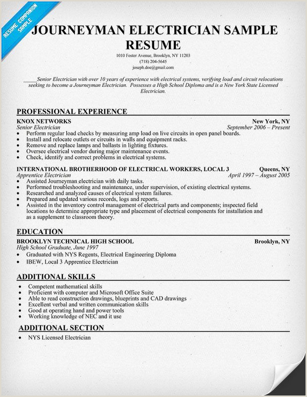 Sample Journeyman Electrician Resume Quotes