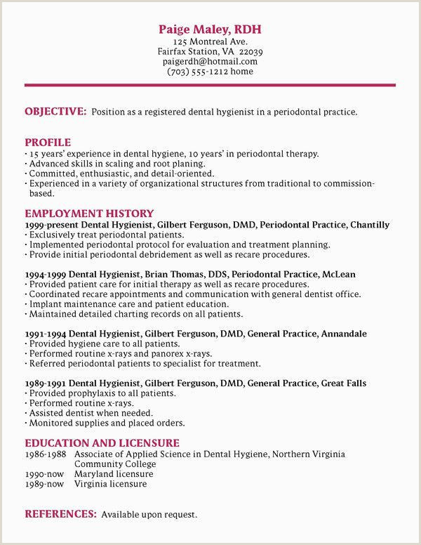 Dental assistant Resume Example Free Dental Hygienist Resume