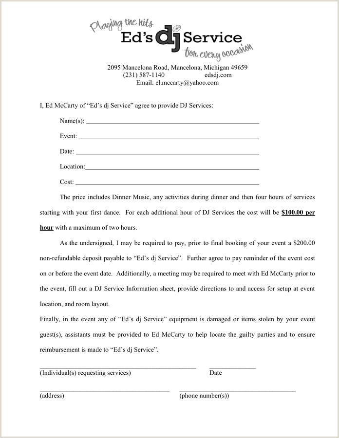 50 Dj Contract Template Microsoft Word