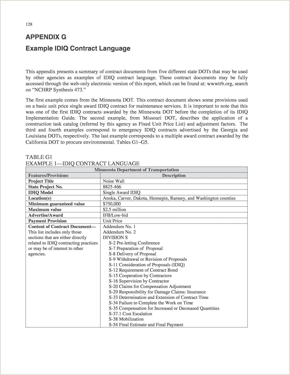 Appendix G Example IDIQ Contract Language