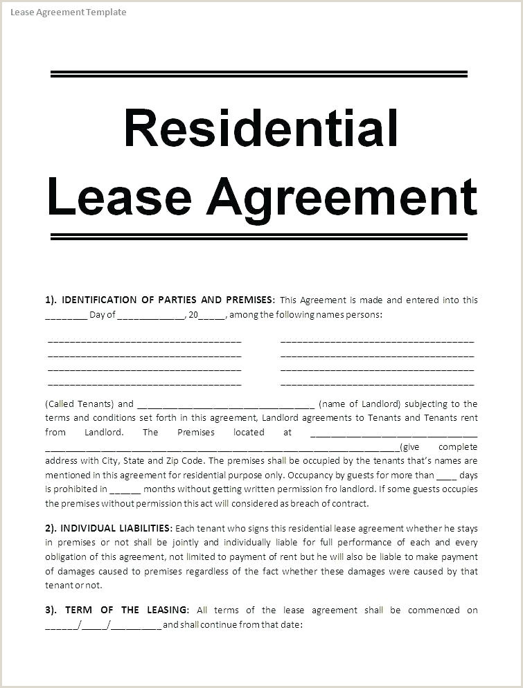 Editable Lease Agreement Template Simple House Dj Contract