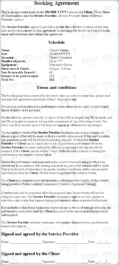 Sample Dj Contract Mobile Dj Contract Template