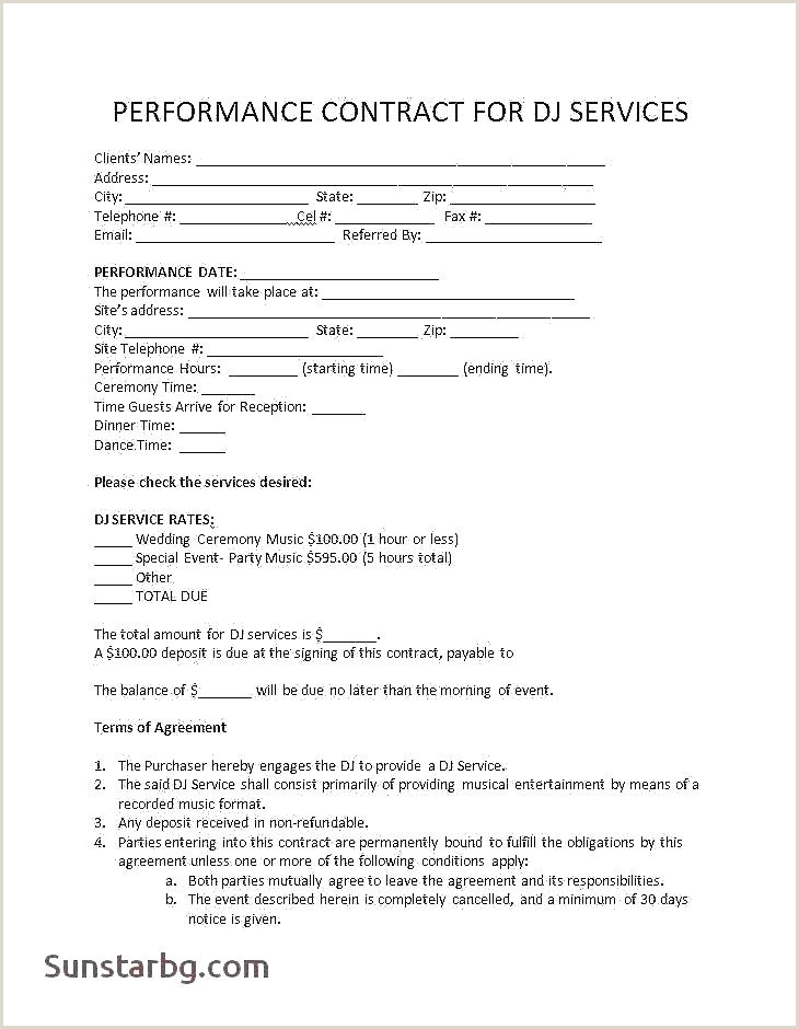 Sample Dj Contract Mobile Dj Contract Template Supply Agreement Fresh Free