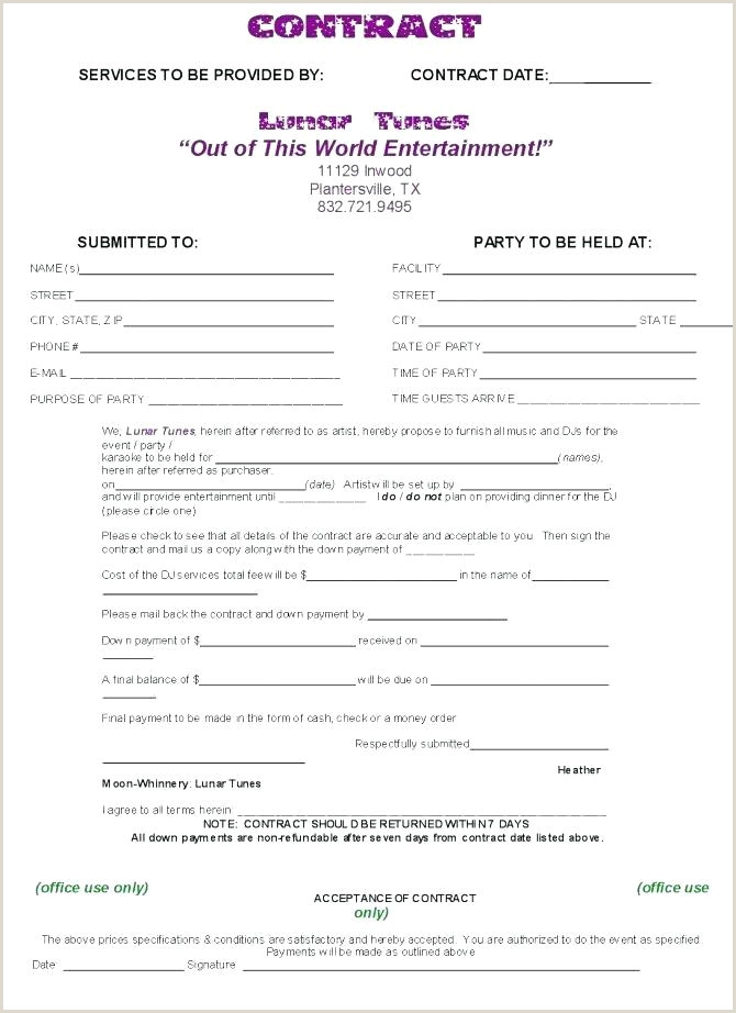 Mobile Dj Contract Template Supply Agreement Fresh Free