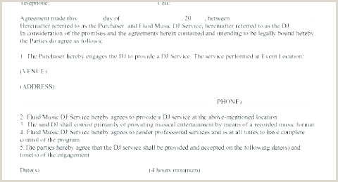 Sample Dj Contract Sample Service Contract Template Service Free Dj Service
