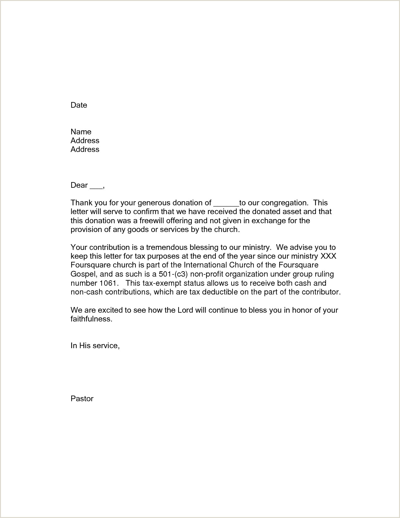 Donation Thank You Letter Template Samples