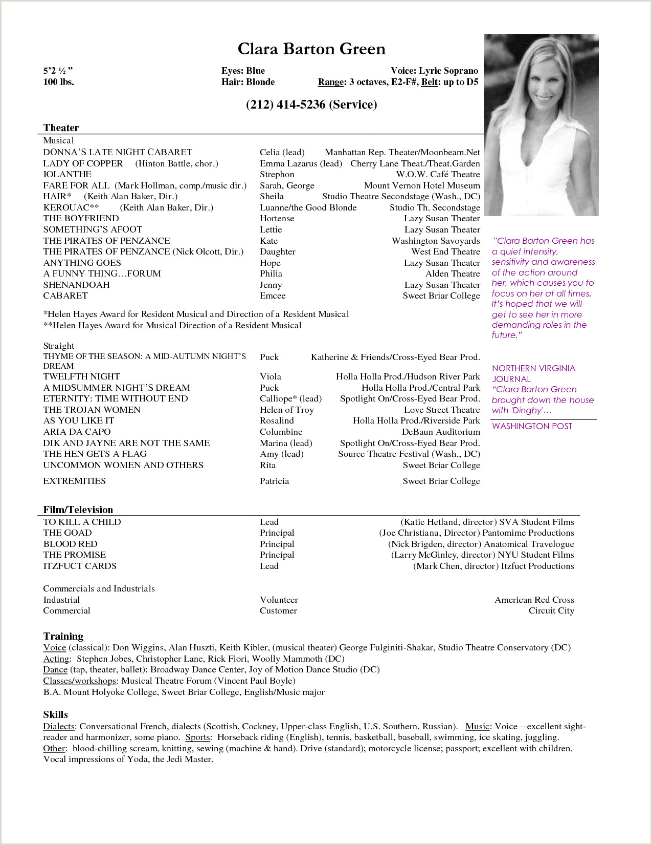 Acting Resume Example Child Actor Template Free And How Cv