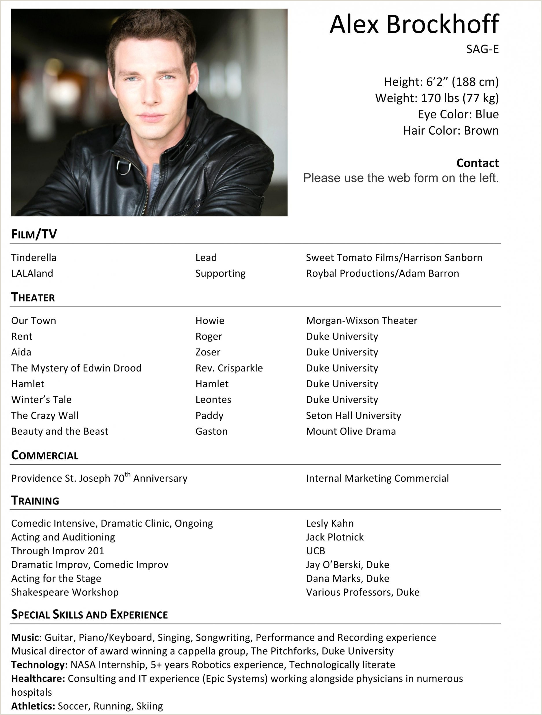 Sample Entertainment Resume Sample Actor Resume Free Sample Actor Resume New Cfo Resume