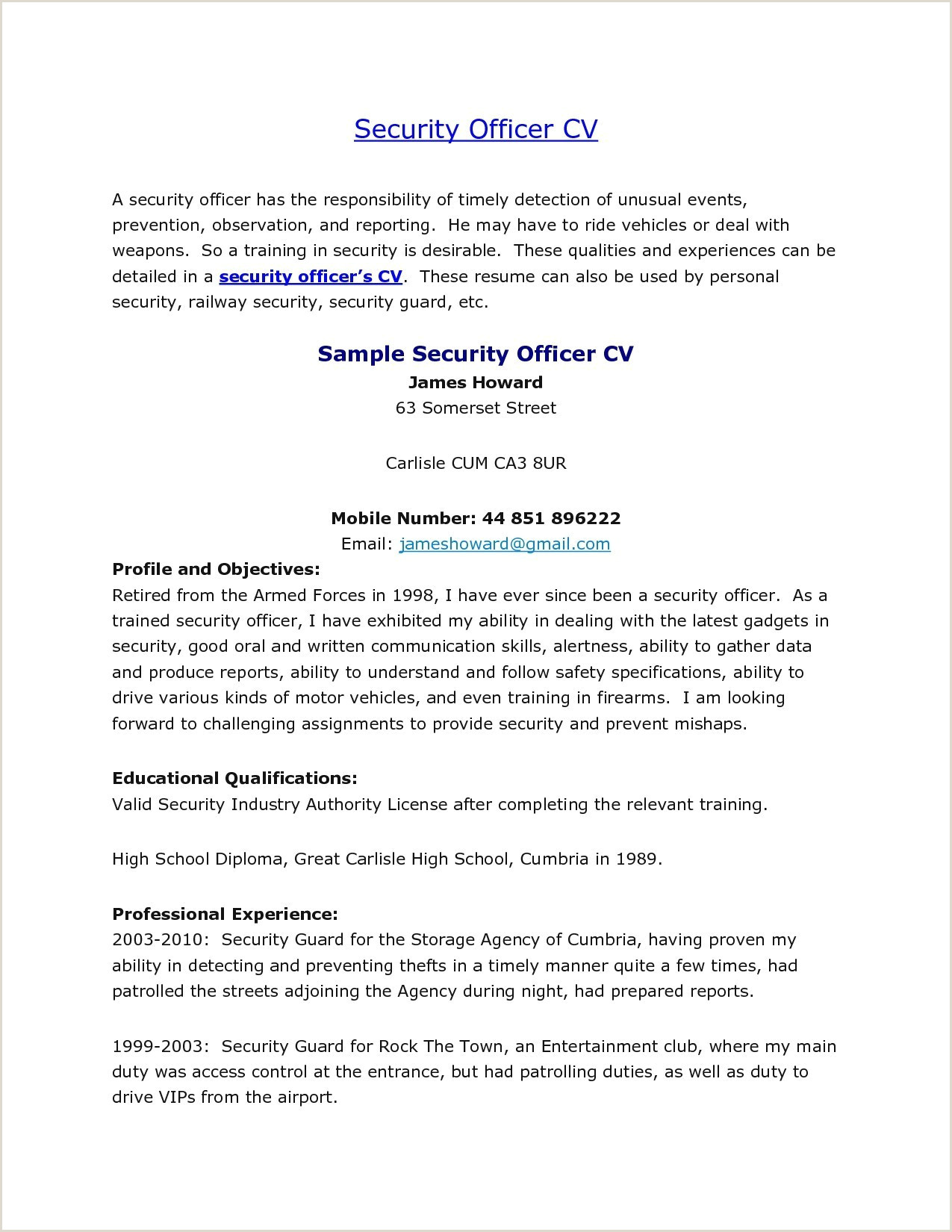 Sample Entertainment Resume Security Guard Sample Resume Best Security Guard Risk
