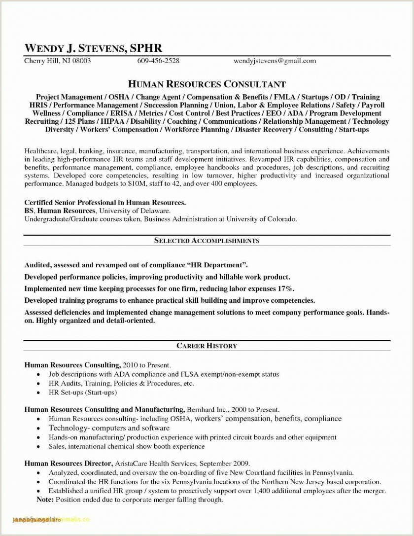 Sample Hr Manager Resume Human Resource Generalist Resume Sample Inspirational 25 New