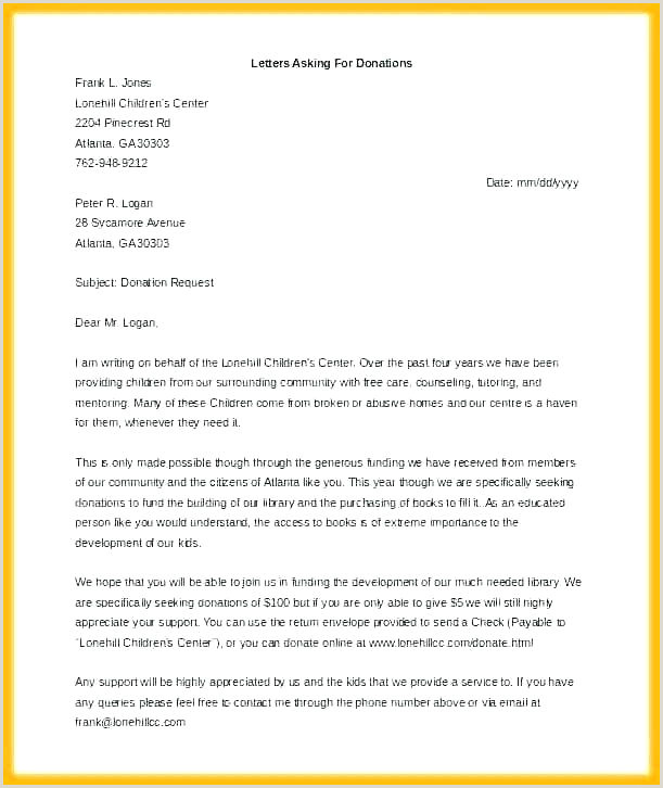 Charity Letterhead Donation Letter Templates Doc Free