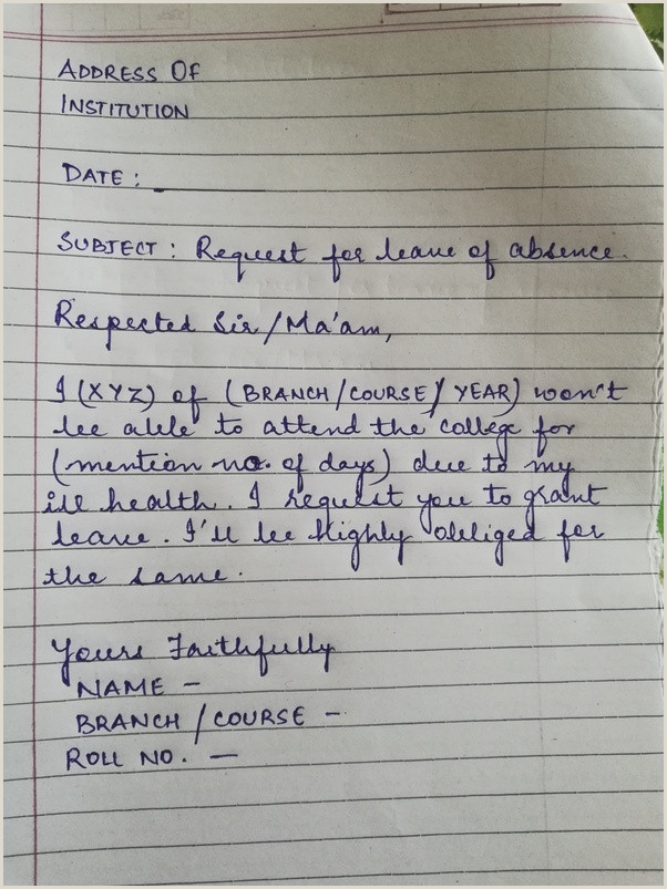 Sample Letter Of Absent From School How to Write A Letter to the Head Of Your Institution
