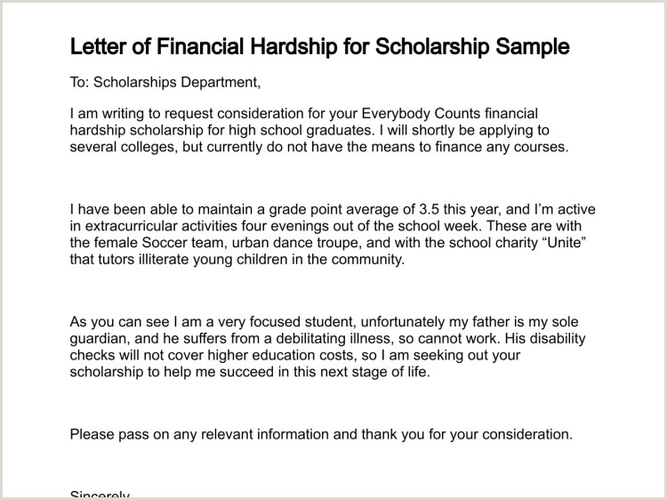 Sample Letter Of Leave Of Absence From Work Letter Of Financial Hardship for Scholarship Sample