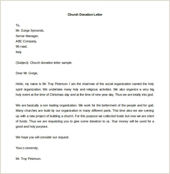 Sample Letter Asking For Donations For Church