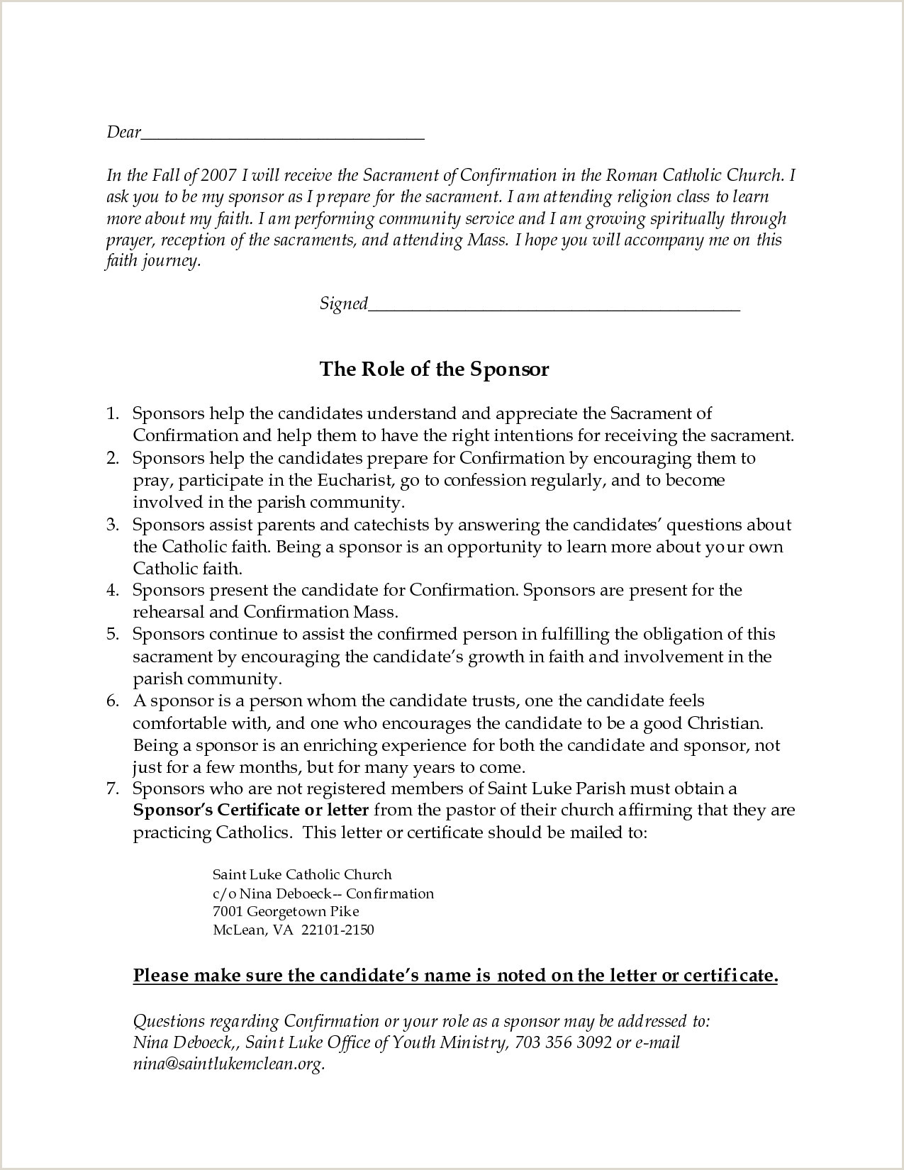 Sample Letter to Catholic Confirmation Candidate 9 Catholic Confirmation Letters Examples