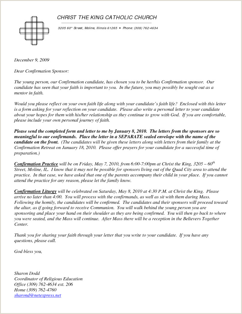 sample letter to confirmation candidate from sponsor