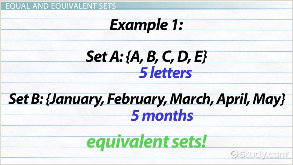 Equivalent Sets Definition & Example Video & Lesson