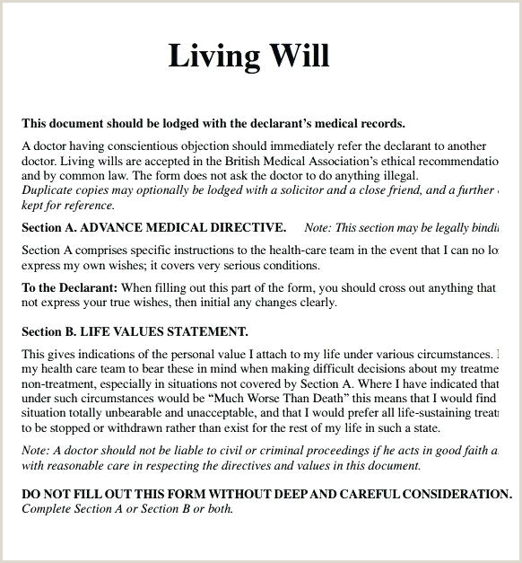 Free Living Will Templates Forms All States A Template Lab