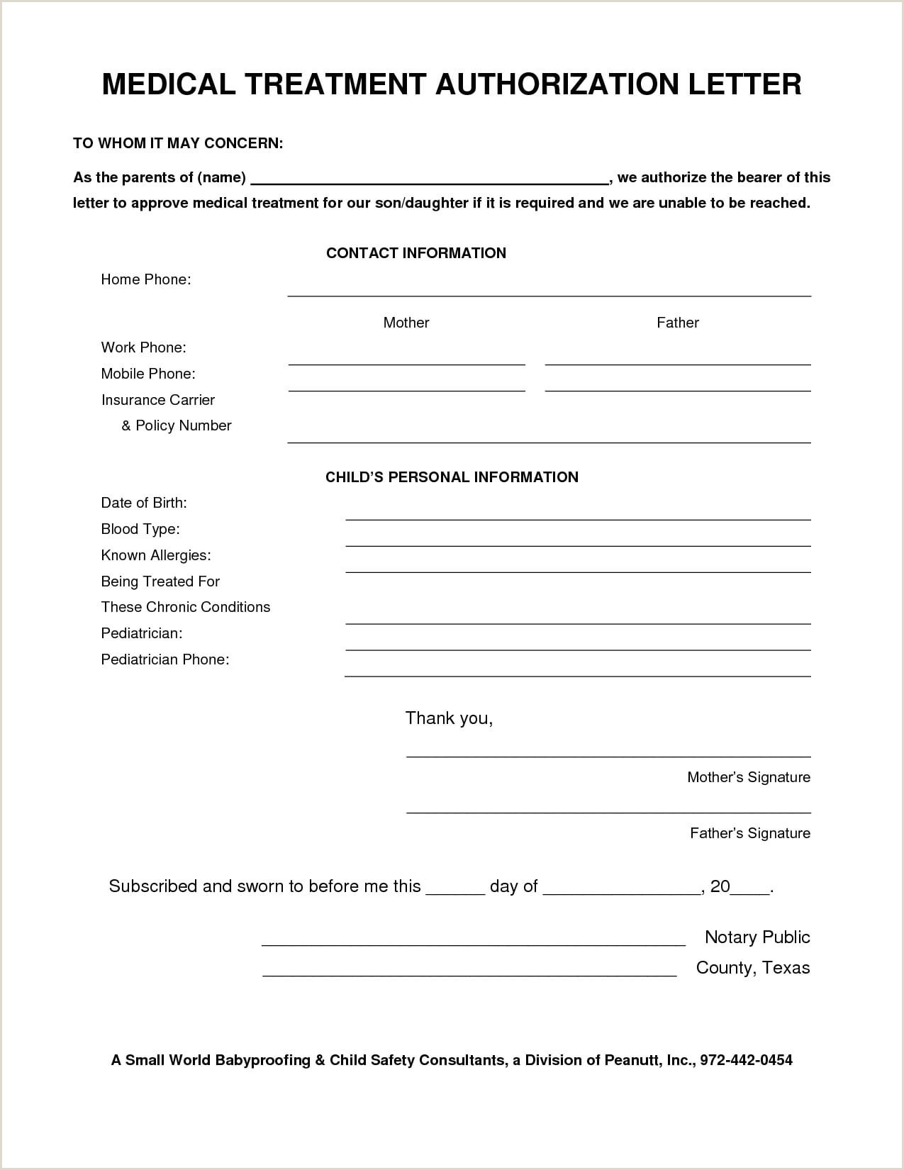 Sample Medical Authorization Letter for Child 9 Medical Authorization Letter Examples Pdf