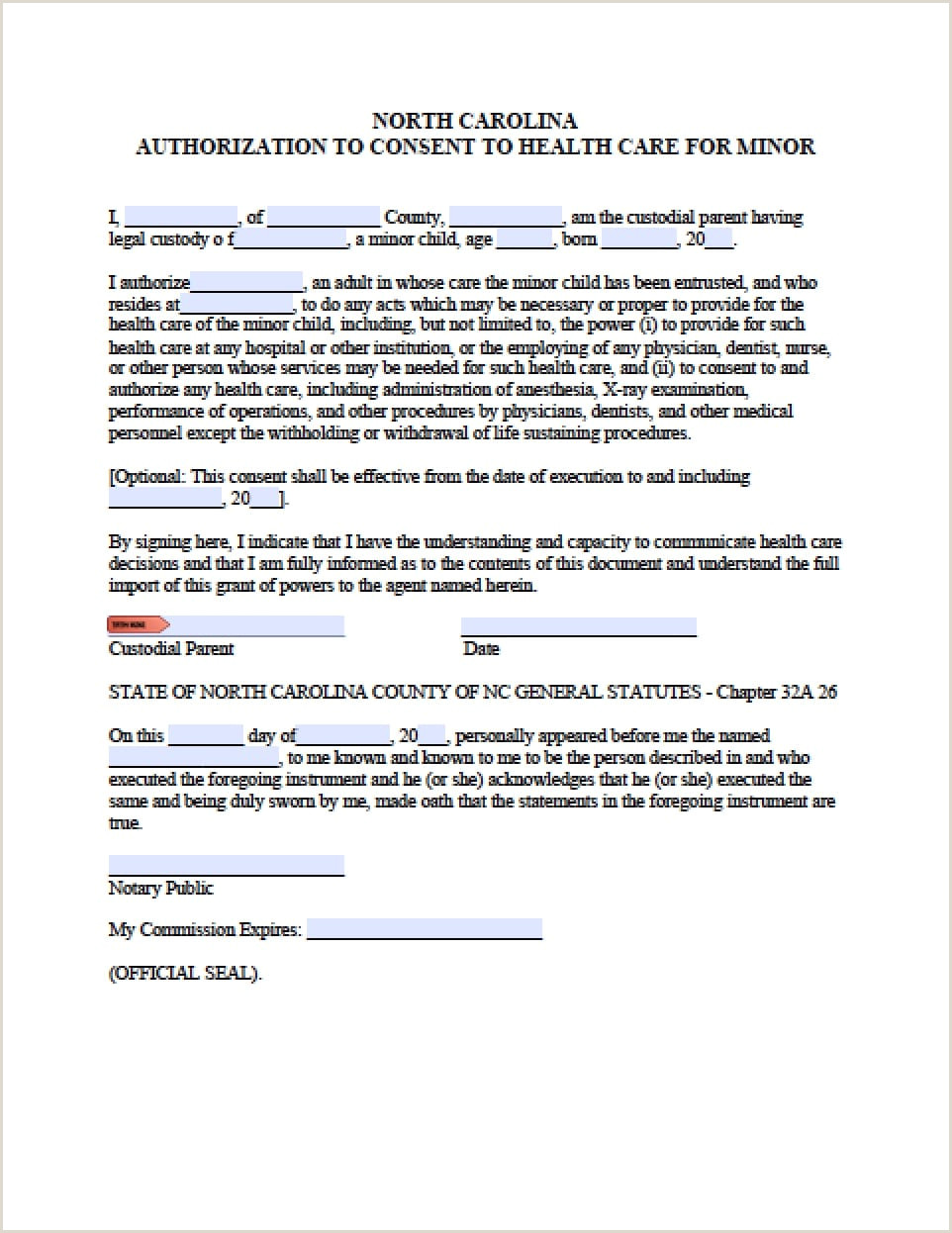 Sample Medical Authorization Letter for Child north Carolina Minor Child Power Of attorney form Power Of