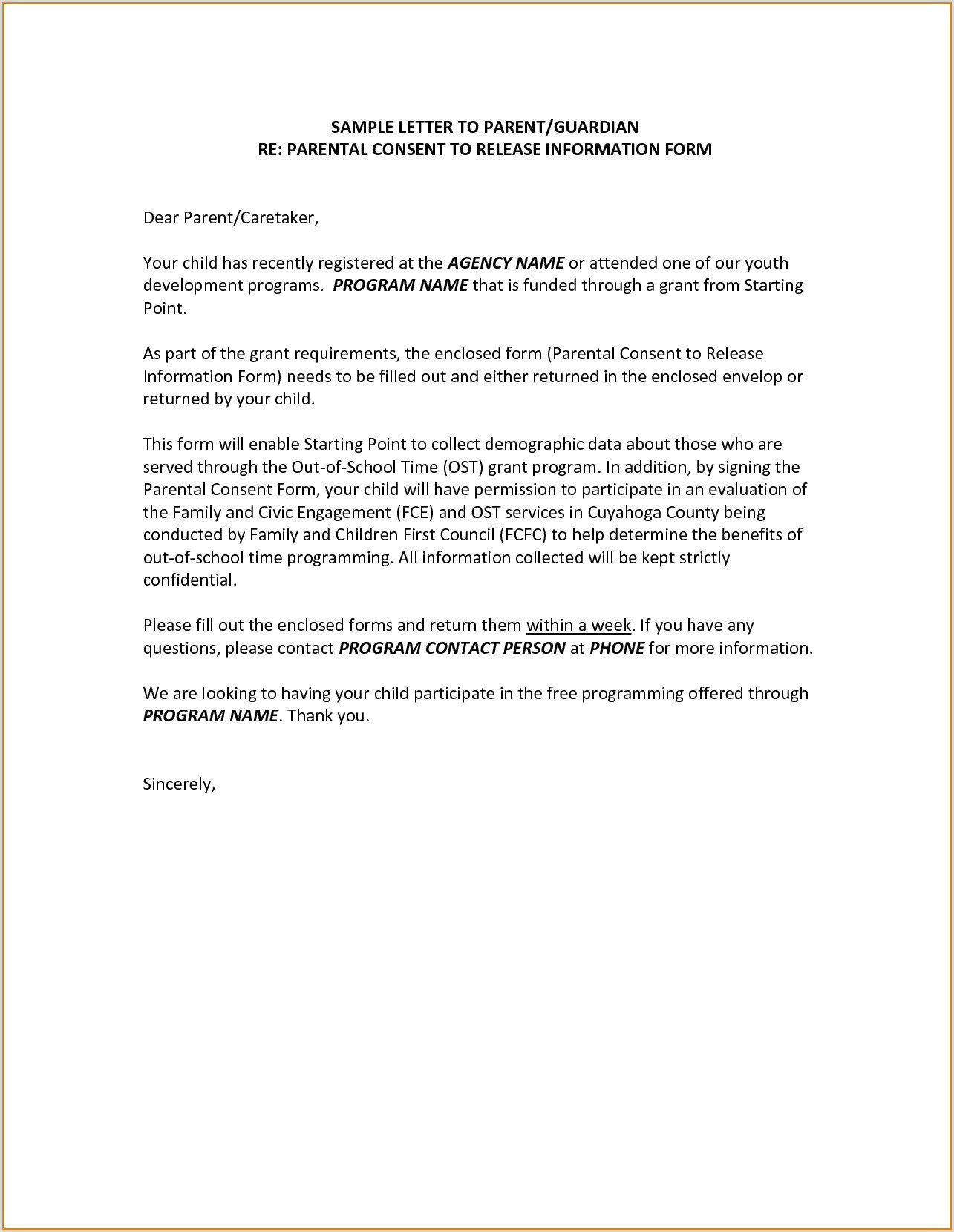 Sample Medical Authorization Letter for Child Parental Consent form for Travel Template Traveling Minor