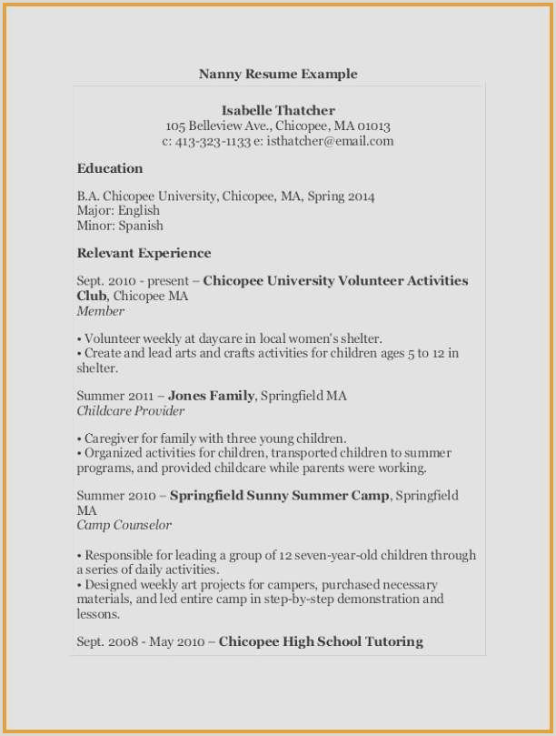 Sample Of Nanny Resume Examples Nanny Resume
