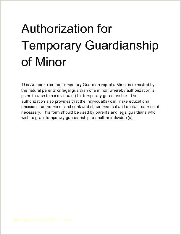 Temporary Custody Letter Template Guardianship Child Example