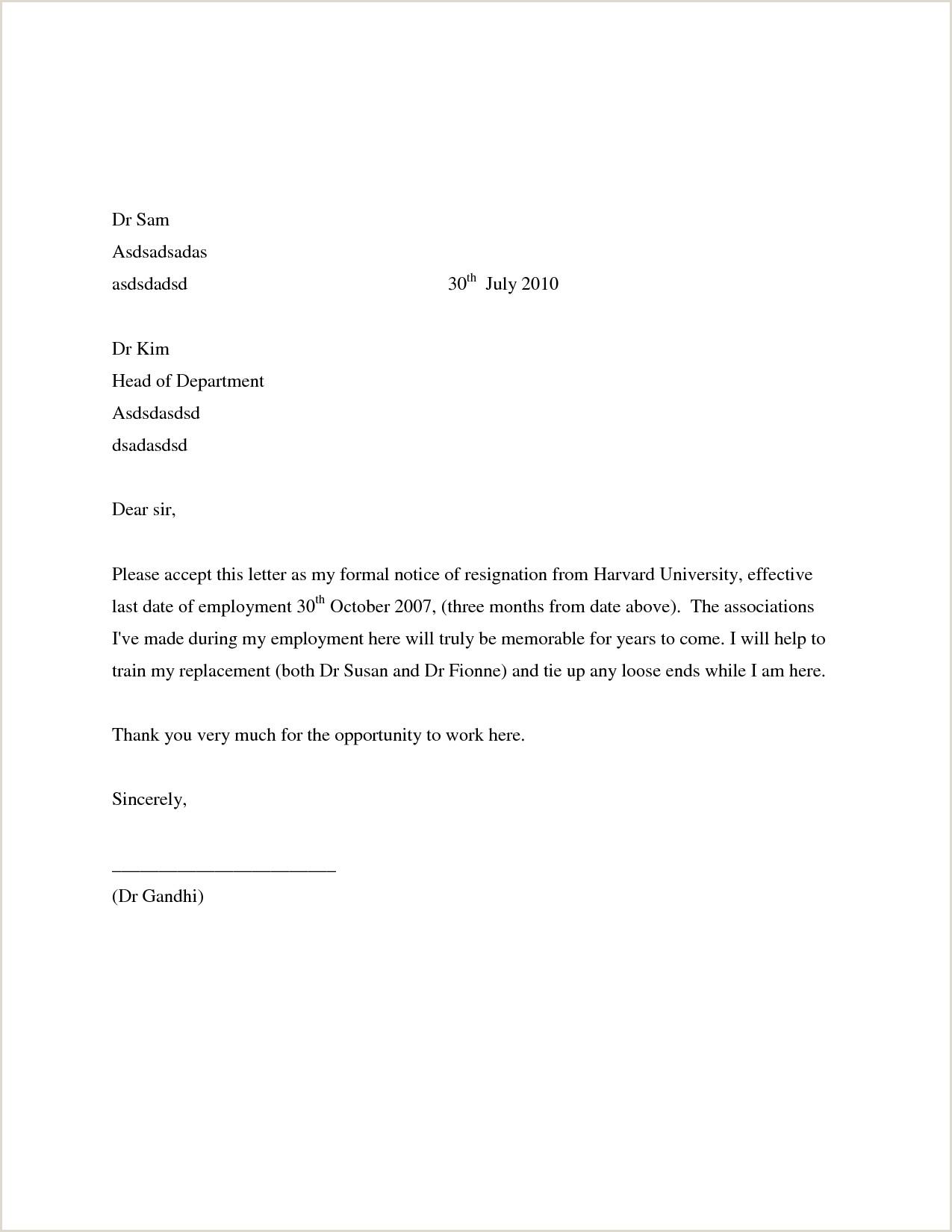 10 formal letters of resignation samples