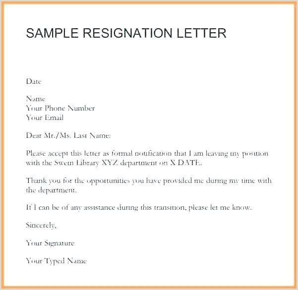 Resignation Letter Example Delightful Short Notice