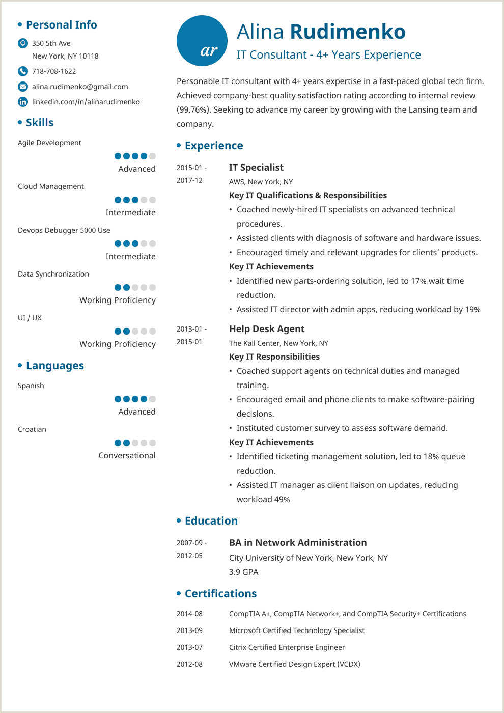 IT Resume Sample & plete Writing Guide 20 Examples & Tips