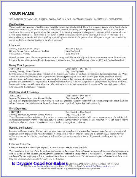 Sample Resume for Child Care Best Child Care Duties Resume