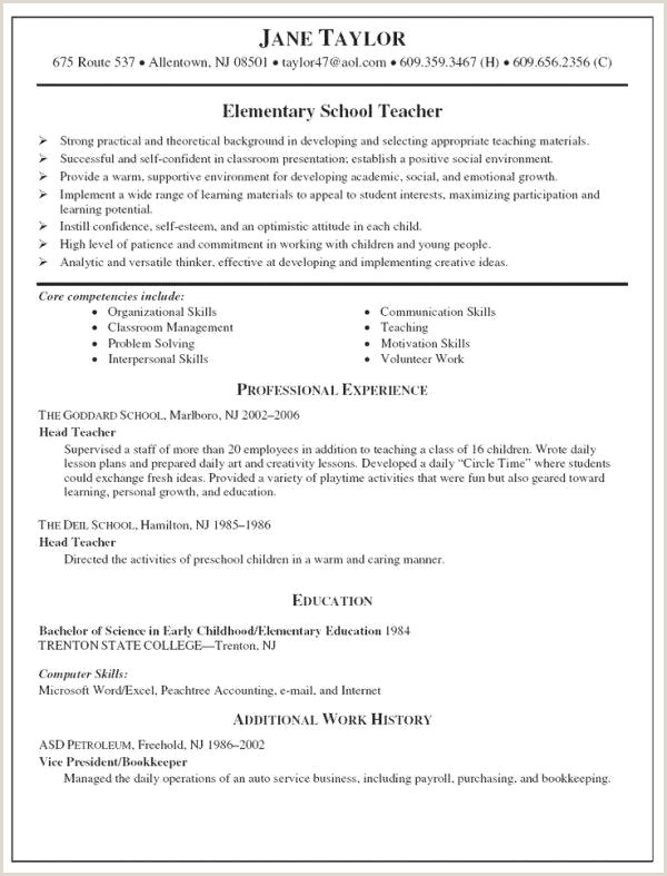 Sample Resume for Child Care Educator Great Preschool Teacher Resume Sample Resume Design