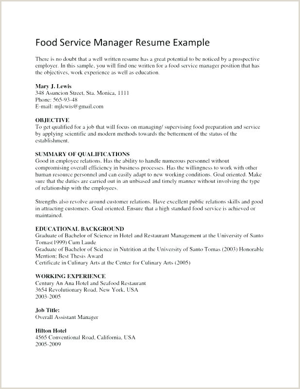 Sample Resume for Food Service Worker In Hospital Food Service Manager Resume – Thrifdecorblog