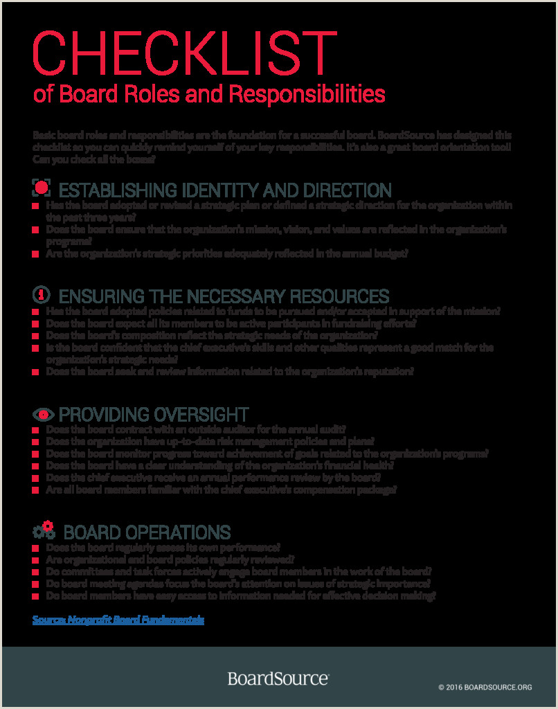 Sample Resume for Fundraising Director Board Roles and Responsibilities Checklist