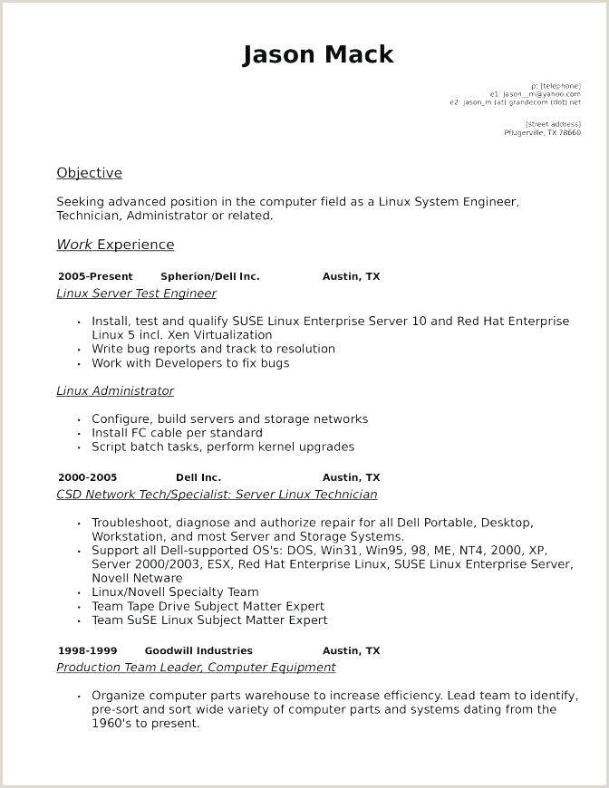 Sample Resume for Linux System Administrator Fresher Linux Resume Template