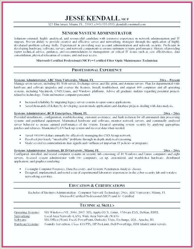 Sample Resume for Linux System Administrator Fresher Linux Resume Template – Ulive