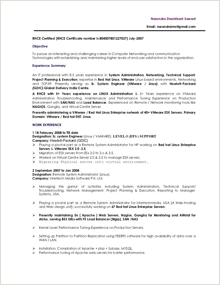 Sample Resume for Linux System Administrator Fresher Sample Resume format – Ndtech