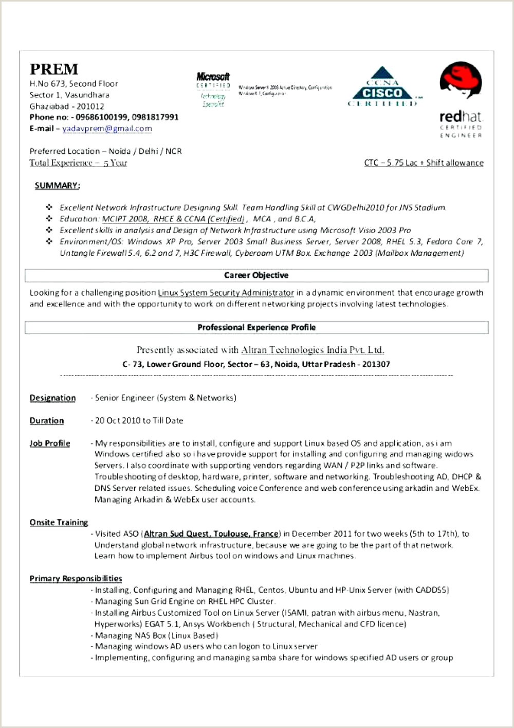 Sample Resume for Linux System Administrator Fresher System Administrator Resume Network Sample Co Windows