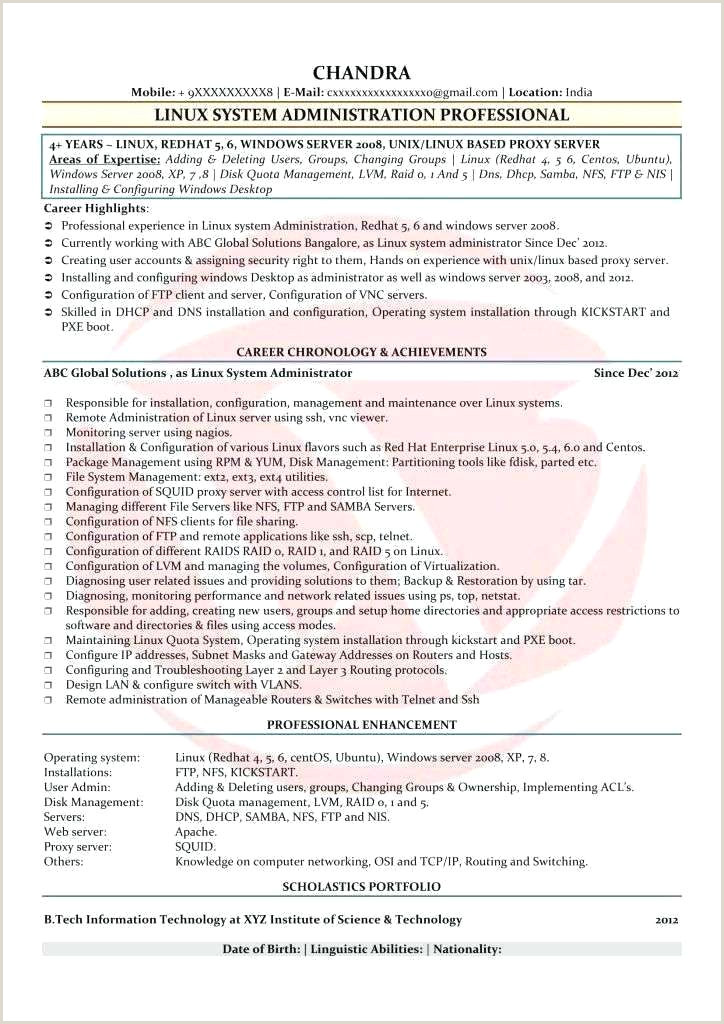 Sample Resume for Linux System Administrator Fresher Windows Server Administration Sample Resume – Dstic