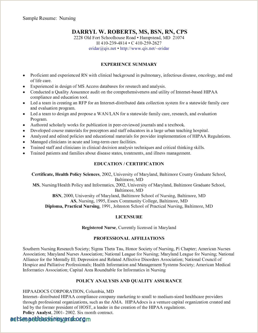 Sample Resume Graduate School Resume for Nursing Job Sample Cover Letter for Nursing Job