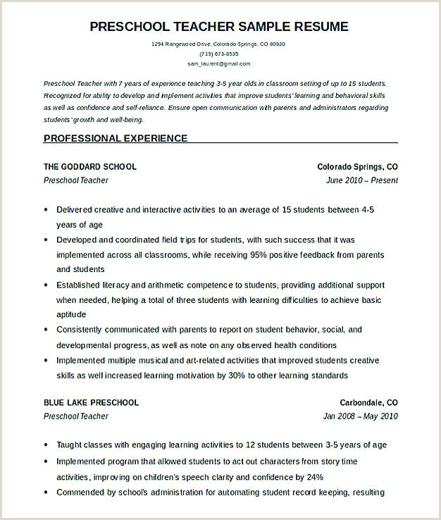 Child Care Director Resume Cover Letter Unique Preschool