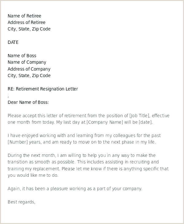 Retirement Resignation Letter Template Free Sample Letters