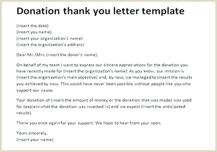 Sample Thank You Letter for Donation to Church Donation Thank You Letter Template – Hostingpremium