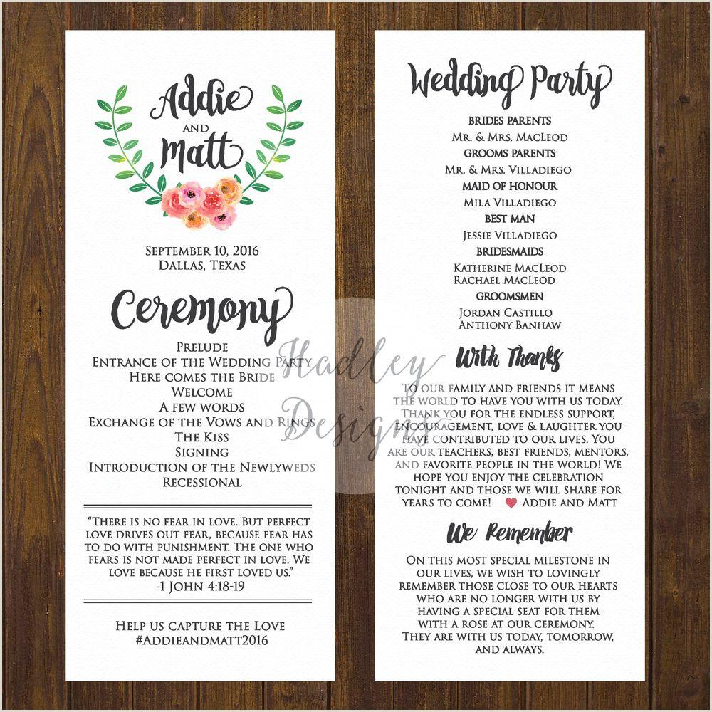 Sample Wedding Programs Wording Wedding Program Ceremony Zaloyrpentersdaughter