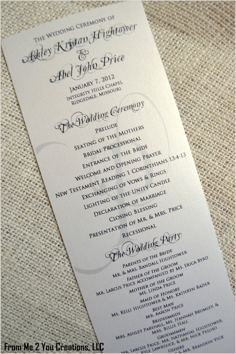 Sample Wedding Reception Program Sample Elegant Wedding Program 4x10 Metallic Ecru Cream