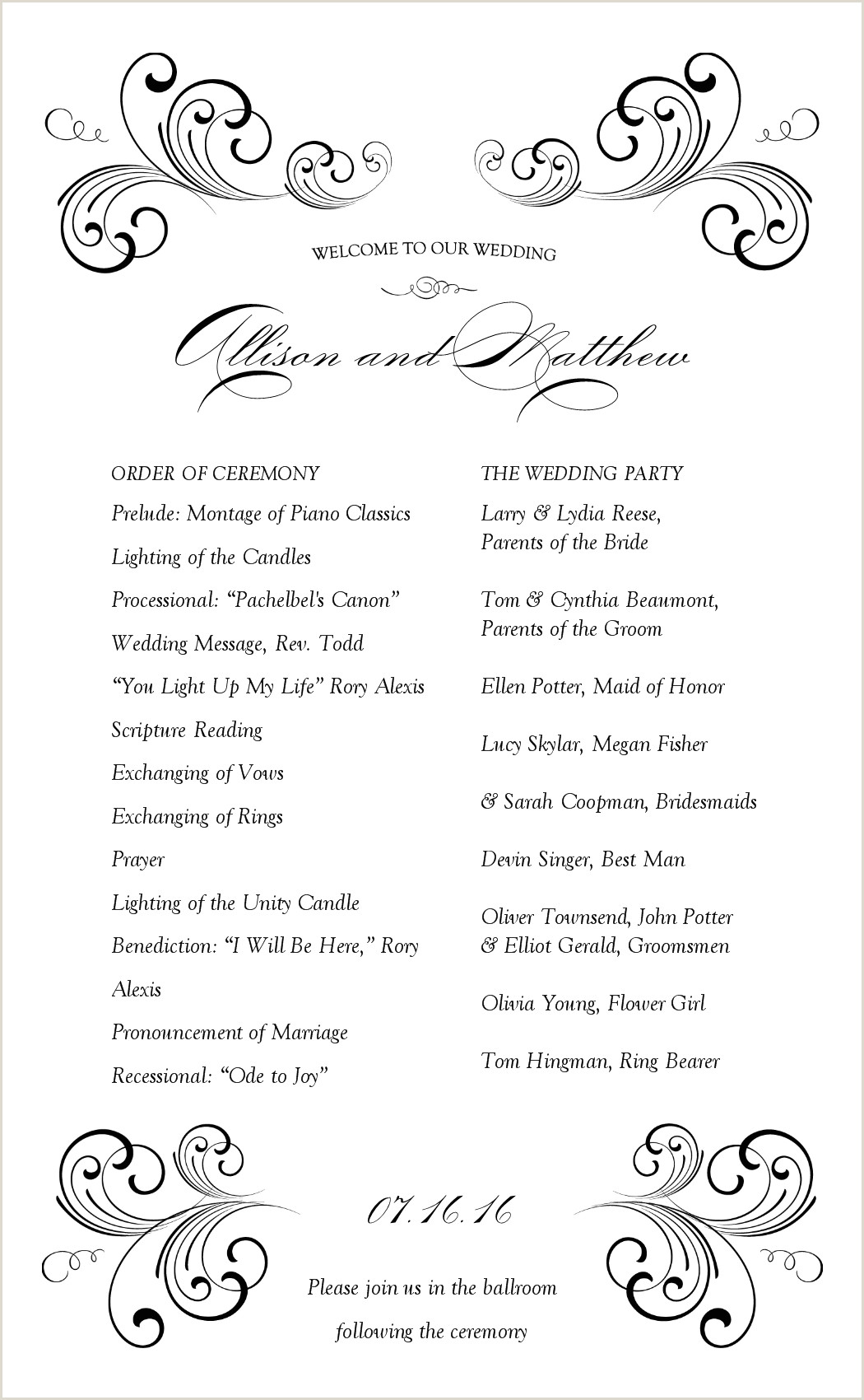 Sample Wedding Reception Program Sample Wedding Programme at the Reception