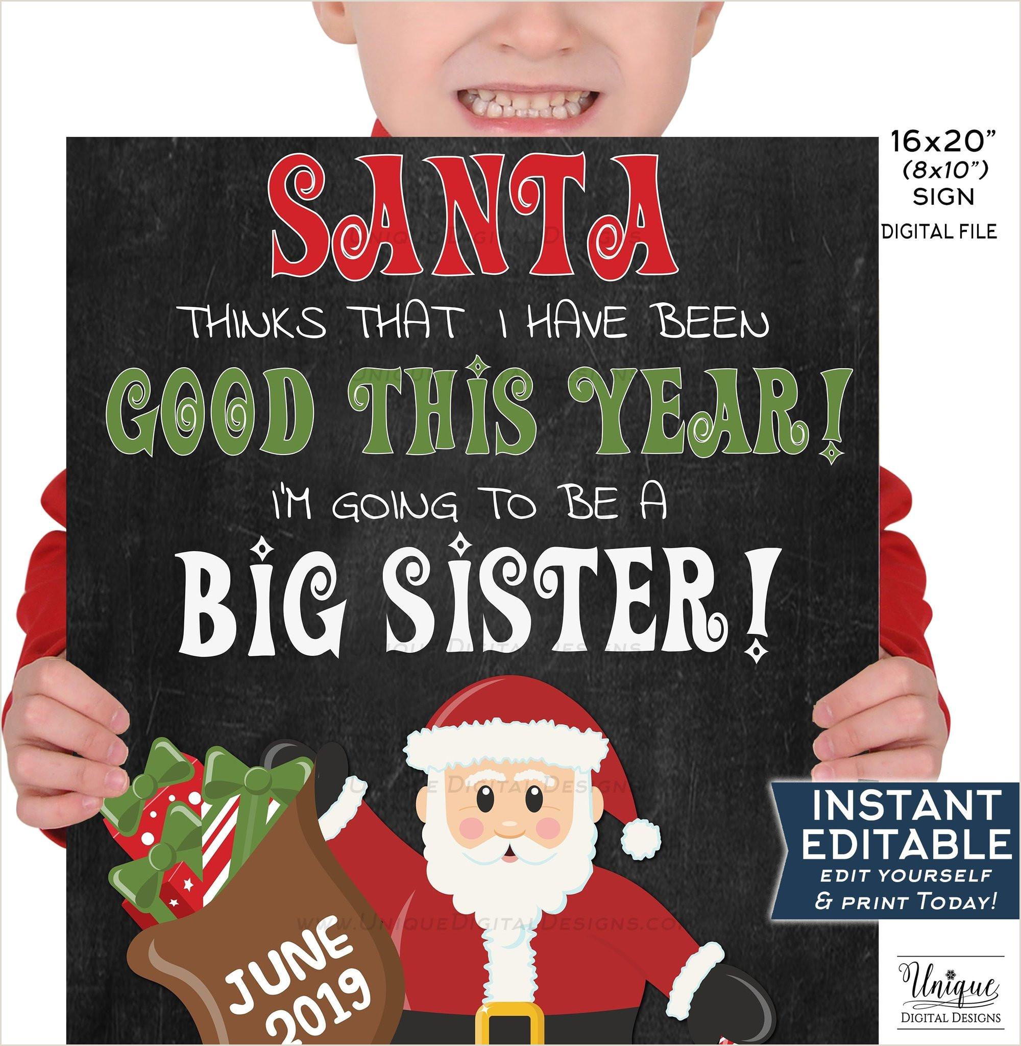 Santa Big Sister Chalkboard Editable Christmas Pregnancy Announcement Sign Sibling Prop Digital Printable INSTANT DOWNLOAD 16x20