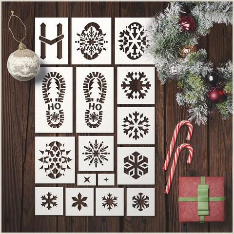 Santa Footsteps & Snowflakes Stencils Set Set of 16 Stencils