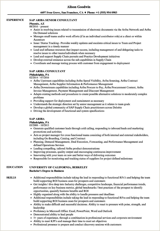 SAP Ariba Resume Samples